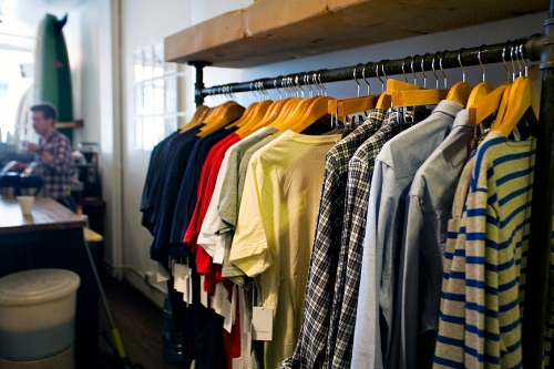 Racks of Clothing at Saturdays Surf