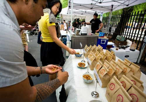 Granola Sampling at the Hester Street Fair Picnic