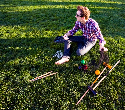 Setting Up for Croquet on the Rockefeller Park Lawn
