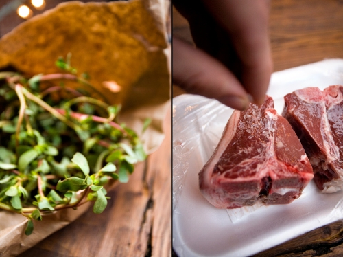 Fresh Purslane and Lamb