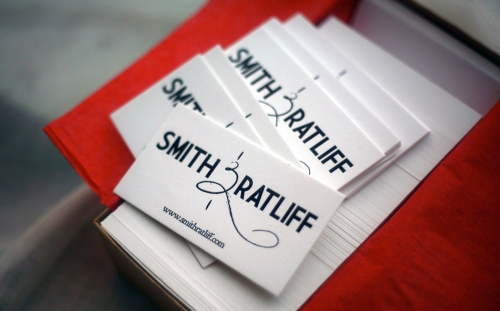 Letterpress business cards printed by The Mandate Press.