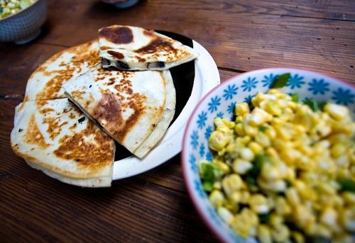Portobello Mushroom Quesadillas and Corn and Avocado Salad